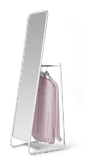 A standing mirror with hooks and a rail for clothes hangers behind the mirror.