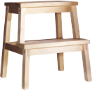 A step stool in solid wood.