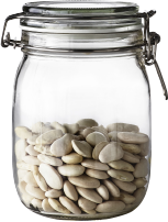 A glass jar filled with white beans.