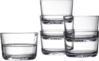 Six tumblers in clear glass.