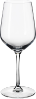 A white wine glass in clear glass.