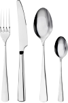 Fork, knife, spoon and teaspoon in stainless steel.