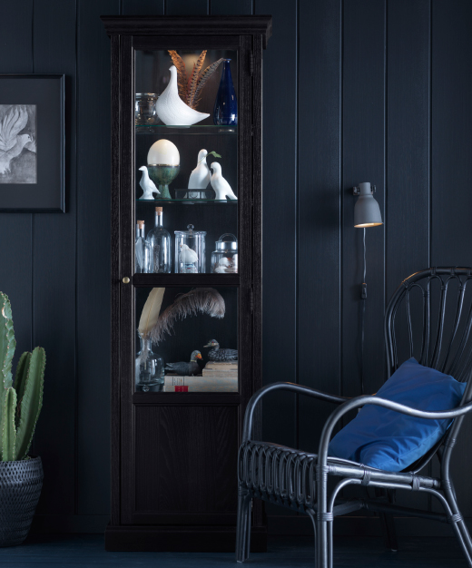 A black gass-door cabinet filled with glass bottles, jars, ceramic birds and books.