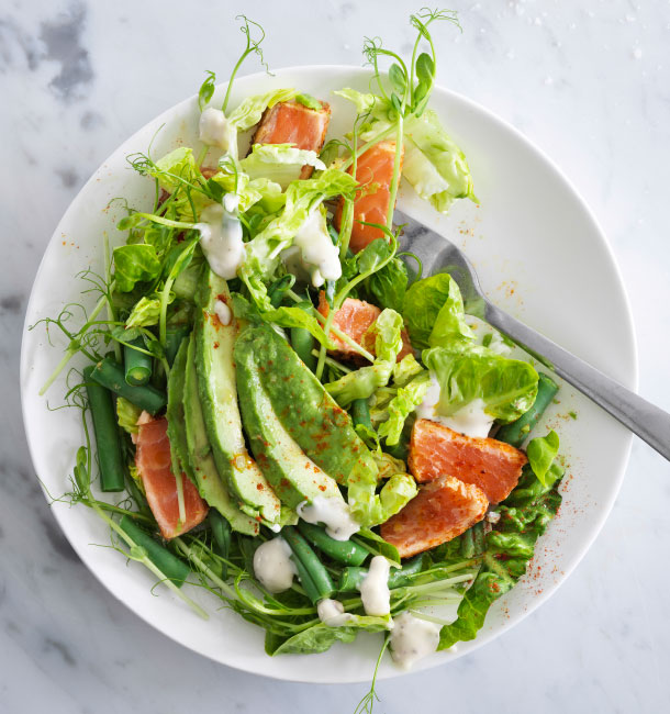 A green salad with haricot verts, flavours of lime and a horseradish dressing
