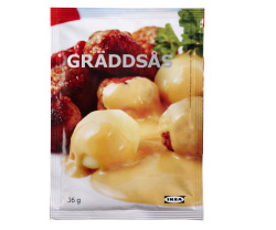 A package of IKEA cream gravy sauce.