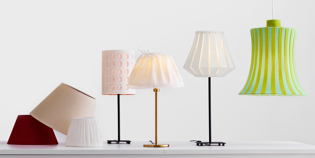Click on this image to use the IKEA lamp creation tool. You can mix and match shades, bases and cords to get the type of lamp and style you want. Try out lots of combos for floor lamps, table lamps and pendent lamps.