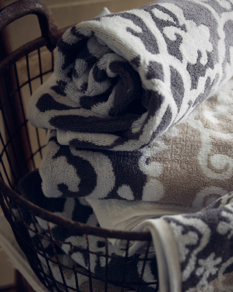 A close-up of terry towels with medallion pattern.