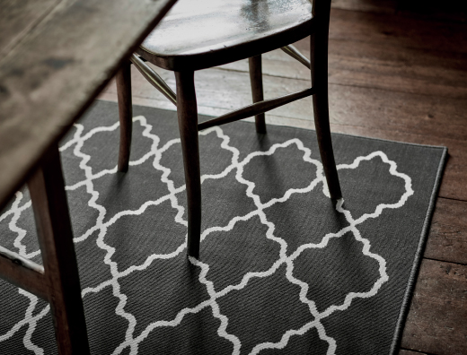 Close-up of a gray rug with white pattern.