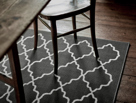 Close-up of a grey rug with white pattern.
