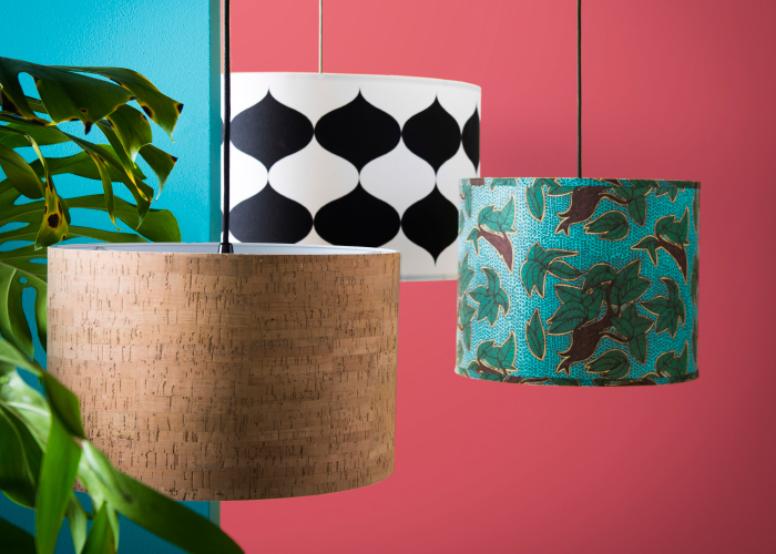 A display of pendant lamp shades in different sizes and with different patterns.
