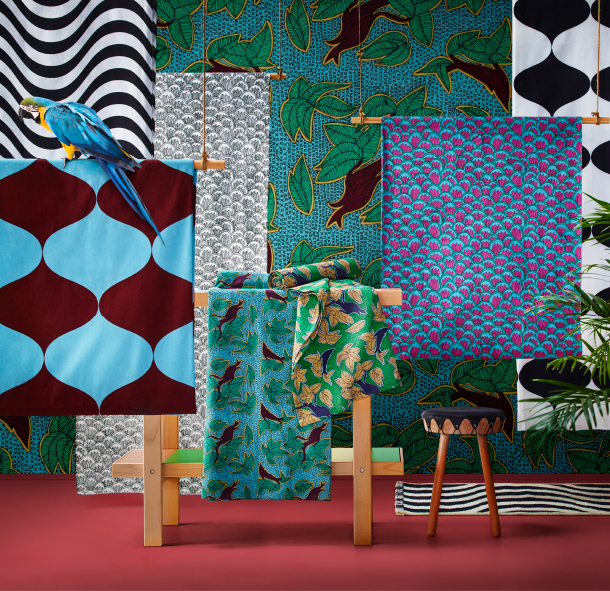 A display of textiles in bold colours and patterns.
