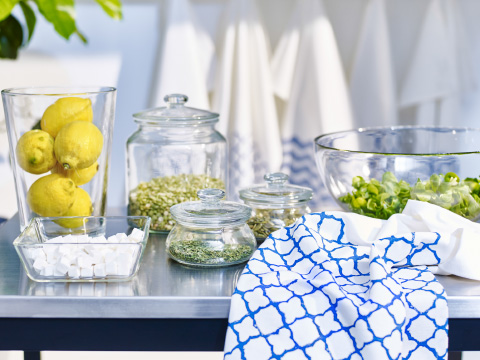 Lemons and condiments in glass storage containers