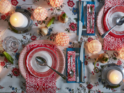 A table setting with bold patterns in red, white and blue
