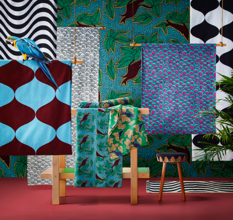 A display of textiles in bold colours and patter