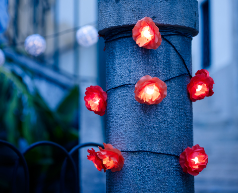 A post decorated with red flower decorations on a lighting chain.
