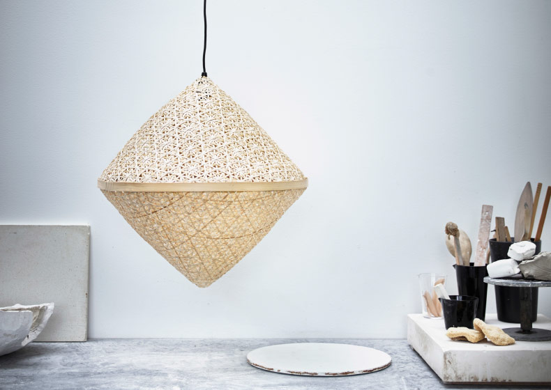 A pendant lamp shade made of bamboo.