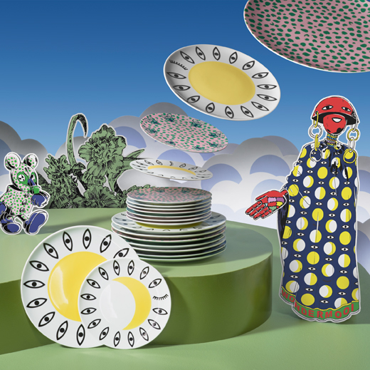 Plates and side plates in different colours with fun eye patterns in different shapes.