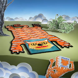 A rug in the shape of a tiger.