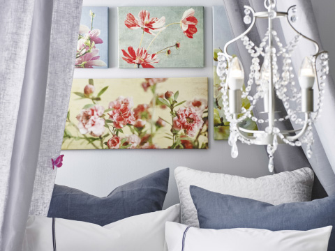 A small chandelier in front of a grey wall with pictures with brightly coloured floral motifs