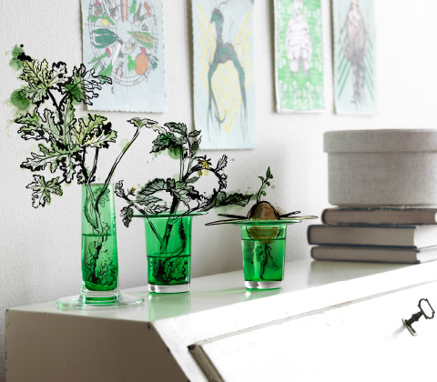 Three green vases in different heights with cuttings.