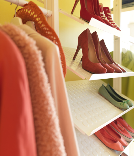 Close-up of shoe shelves.