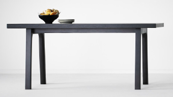 A black dining table.