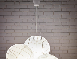 Ceiling light with HEMMA triple cord set.