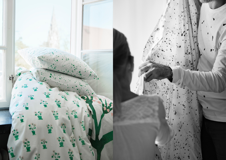 A white duvet cover and two pillowcases with green and pink floral pattern.