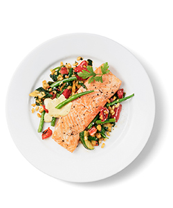 In the Restaurant: ASC-certified Salmon fillet with grilled vegetables and wheat pilaf.