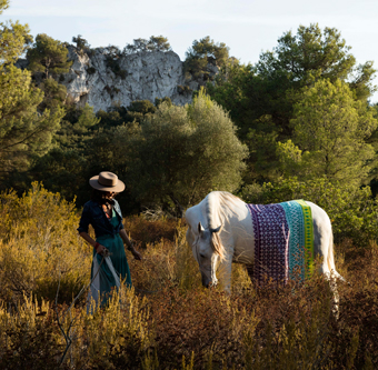 A woman and a white horse, up in the mountains. The horse has a colourful tablecloth with batik pattern on his back.