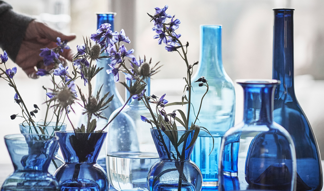 Each carafe and vase from the STOCKHOLM 2017 collection is handmade by an experienced glassblower, which thing makes each piece unique. Check them out in real life and choose one with the perfect shade of blue.
