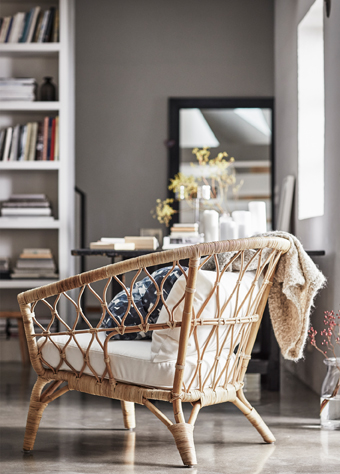 STOCKHOLM 2017 is a collection that celebrates nature and gets inspiration from it. Each product is created using natural materials and it's handmade by skilled craftspeople. This armchair is made of braided rattan with cushions in white cotton.