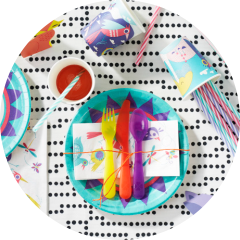 A place setting seen from above, consisting of paper plates, paper napkins, disposable mugs, straws and plastic cutlery, all with colourful and fun patterns.