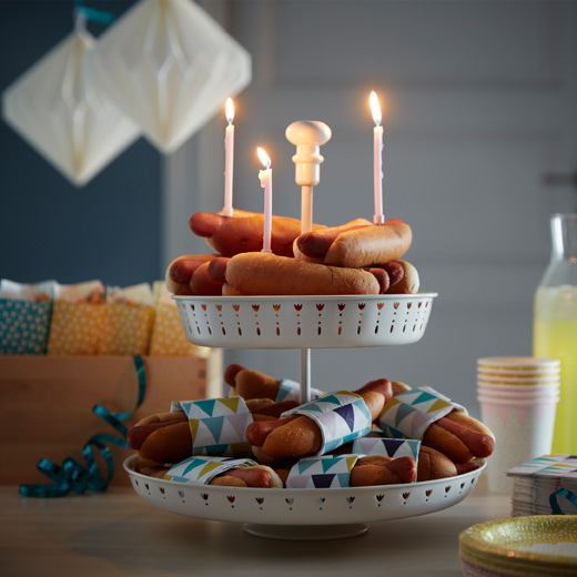 IKEA GARNERA serving stand can hold cakes, cookies or hot dogs if that's what you prefer to celebrate with