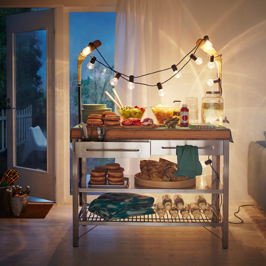 IKEA RIMFORSA work bench can hold everything you need to keep a party going