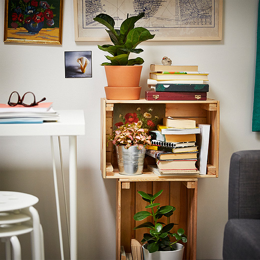 Two wooden boxes stacked on top of each other, filled with books and green plants.