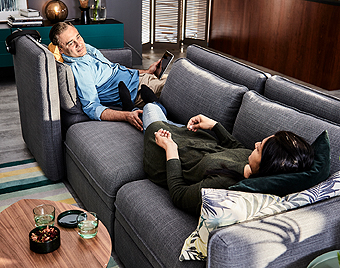 Together or apart, with IKEA VALLENTUNA modular sofas you can create personal zones while staying only on arm's reach away. The possibilities of creating a unique and personal combination are endless.