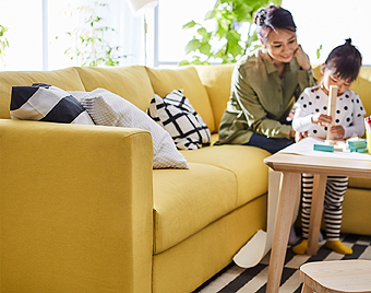 You can spend quality time together with your children in IKEA VIMLE golden-yellow corner sofa. Its low and deep design make it inviting and easy for the little ones to climb up and join you.