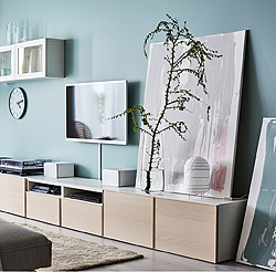 Organize, hide cables and create a clutter-free living room with our modern white and ash veneer TV stands BESTÅ. Your films, music and games will be both easy to find and protected from dust by the soft opening drawers with integrated push-openers.