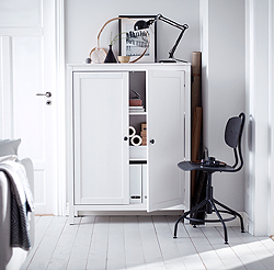 This white stain HEMNES cabinet in solid wood eats clutter, while adding a classic, vintage touch to any room. It combines with other furniture in the HEMNES series – everything from shoe cabinets to desks, beds, dressing tables and hat racks.