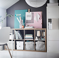 Put the KALLAX shelving unit horizontally as a sideboard and add KALLAX parts, inserts and doors, to get all the functions you need. Creating a display space with things you both want to store and show is easier than you think!