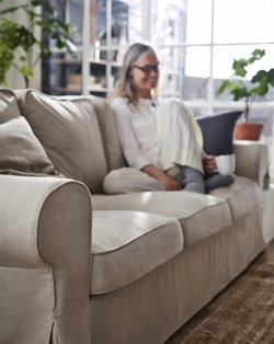 Strong seams, changeable covers and back cushions you can flip – this EKTORP three-seat sofa is made to keep you comfortable for many years to come.The cover is easy to keep clean as it is removable and can be machine-washed.