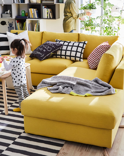 This golden-yellow sectional sofa allows you to create just the seating solution you need. Some sections offer a spacious storage solution, and the back of VIMLE has a full fabric cover so it can be placed in the middle of the room.