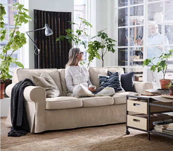 Strong seams, changeable covers and back cushions you can flip – this EKTORP three-seat sofa is made to keep you comfortable for many years to come. The cover is easy to keep clean as it is removable and can be machine-washed.