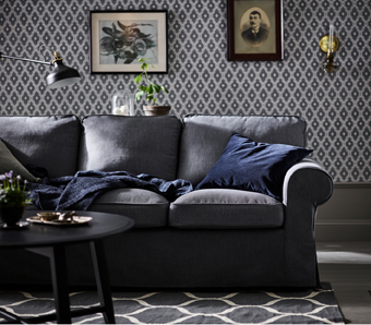 This dark grey EKTORP three-seat sofa will keep you comfortable for many years to come – reversible back cushions provide soft support for your back. A range of coordinated covers makes it easy to change the look.