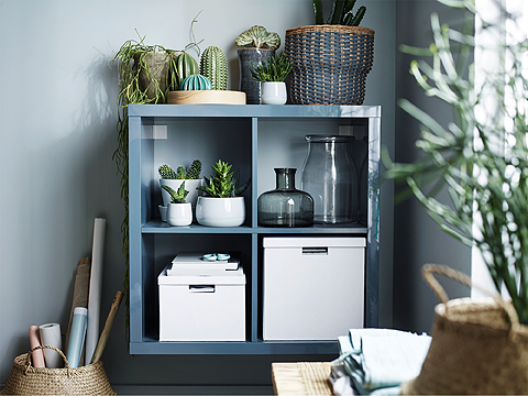 A KALLAX shelving unit with clean, simple design can create stylish additional storage and display in small and unused spaces. The high-gloss gray-turquoise surface is a beautiful backdrop for green plants, gray glass vases and white cardboard boxes.