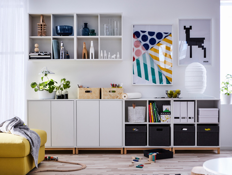 In need of a truly flexible, modular storage solution? Hang, stack and combine these practical and stylish EKET cabinets as you like! When life and needs change, just move, add or remove parts – these cubes can be used anywhere in your home.