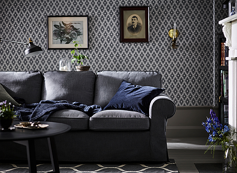 A classical sofa with rounded edges and wonderfully thick, comfy cushions. IKEA EKTORP dark gray three-seat sofa will last for many years.