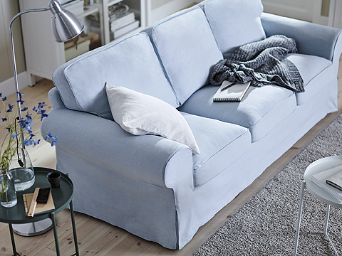 A classical sofa with rounded edges and wonderfully thick, comfy cushions. The covers for IKEA EKTORP sofa are both easy to change and washable, so buy an extra cover - or two, and change to give your furniture a new look.