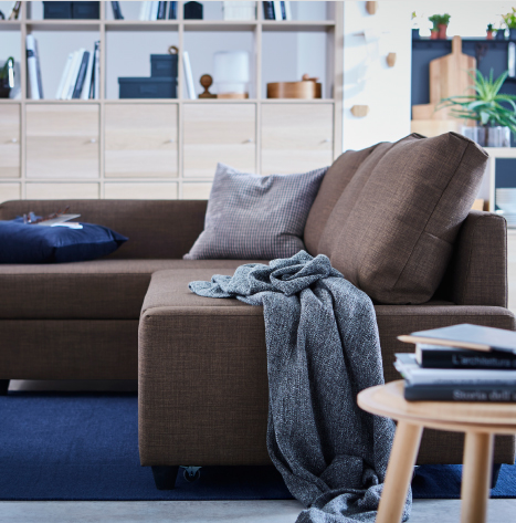 Not only sofa, chaise longue and double bed in one – this modern, brown and minimalistic sofa called FRIHETEN has built in storage space as well. It quickly converts into a spacious bed when you remove the back cushions and pull out the underframe.